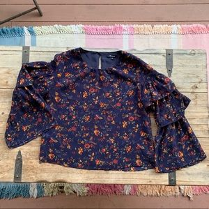 Madewell Navy Floral Ruffle Bell Sleeve Top